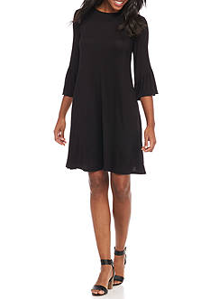 New Directions Solid Bell Sleeve Dress