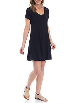 New Directions Solid Back Neck Lattice Swing Dress