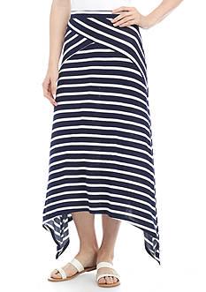 New Directions Spliced Stripe Shark Bite Skirt