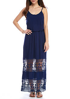 New Directions® Petite Crochet Inset Maxi Dress