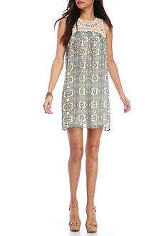 New Directions Petite Crochet Yoke Dress