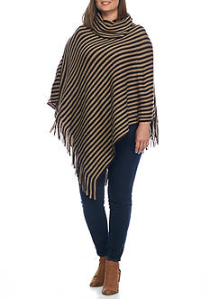 New Directions Plus Size Cowl Neck Fringe Hem Poncho