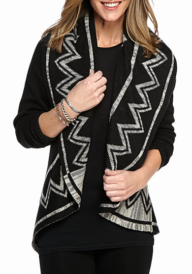 New Directions® Tribal Open Front Cardigan