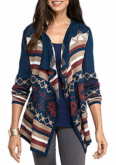 New Directions Stripe Jacquard Drape Cardigan