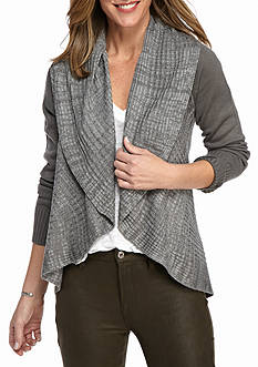 New Directions Open Front Shawl Collar Cardigan