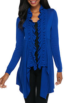 New Directions Draped Ruffle Collar Cardigan
