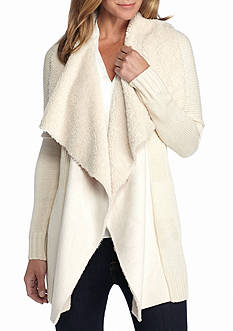 New Directions Faux Suede Sherpa Cardigan