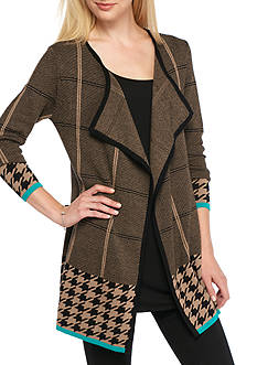 New Directions Open Front Plaid Houndstooth Cardigan