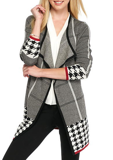 New Directions® Open Front Plaid Houndstooth Cardigan