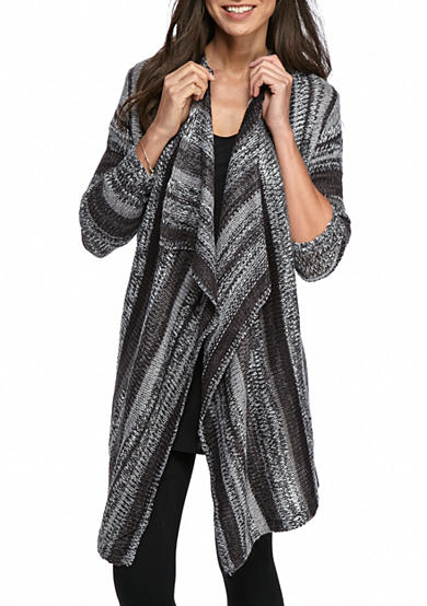 New Directions® Drape Front Stripe Cardigan