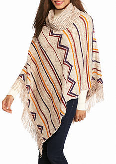New Directions Patterned Cowl Neck Fringe Poncho