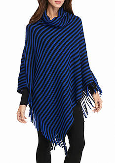 New Directions Stripe Poncho with Fringe