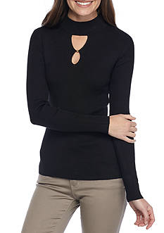 New Directions Solid Ribbed Mock Keyhole Sweater