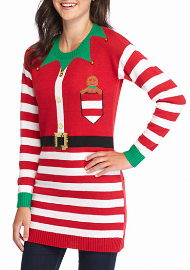 New Directions® Santa Elf Stripe Tunic Sweater