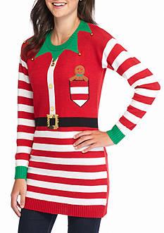 New Directions Santa Elf Stripe Tunic Sweater