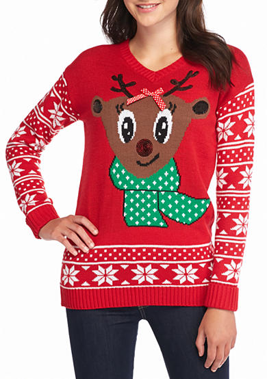 New Directions® Sequined Reindeer Holiday Sweater