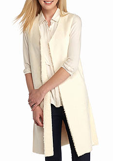 New Directions Reversible Faux Suede Sherpa Vest