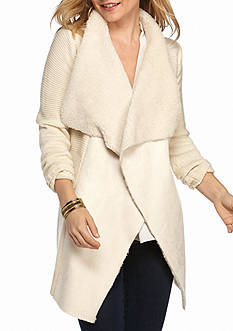 New Directions Petite Suede Shawl Coat