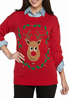 New Directions Petite Size Reindeer Sweater