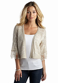 New Directions® Patterned Pointelle Shrug With Fringe