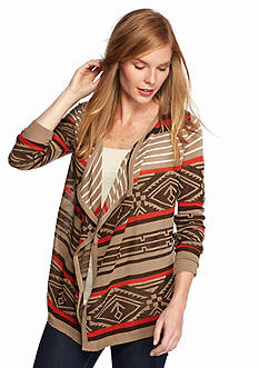 New Directions® Drape Front Aztec Stripe Cardigan