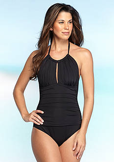 Kenneth Cole Shirr Thing High Neck One Piece