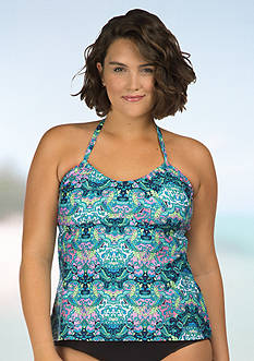 Kenneth Cole Reaction Plus Size Scarves On Deck U-Neck Tankini