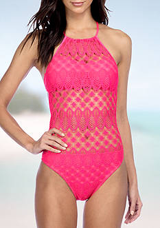 Kenneth Cole Reaction Rainbow Connection High Neck One Piece Swimsuit