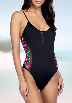 Kenneth Cole Reaction Garden Groove Embroidered One Piece Swimsuit