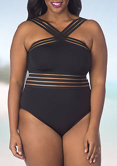 Kenneth Cole Reaction Plus Size Solid Hi-Neck One Piece Swimsuit