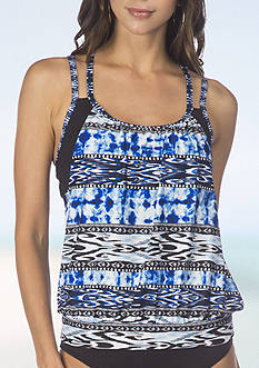 Kenneth Cole Reaction Indigo Go-Girl Layered Tankini Swim Top