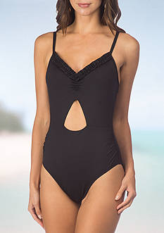 Kenneth Cole Reaction Frill Of It Keyhole Ruffle One Piece Swimsuit