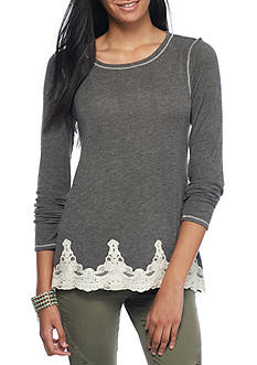 Jolt Long Sleeve Applique Lace Hem Top
