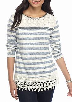 Jolt Lace Hem Stripe Sweatshirt