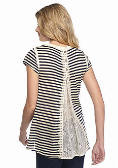 Jolt Striped Split Back Lace Tunic