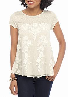 Jolt Short Sleeve Lace Front Knit Shirt