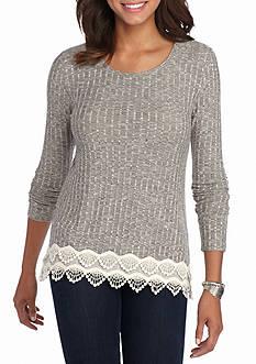 Jolt Long-Sleeve Crochet Hem Top