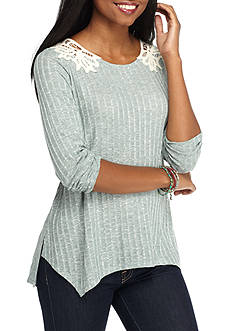 Jolt Ribbed Lace Back Long Sleeve Shirt