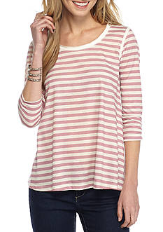 Jolt Stripe and Lace Button Back Top