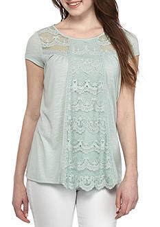 Jolt Short Sleeve Lace Panel Knit Top