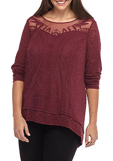 Jolt Plus Size Hacci Sheer Overlay Sweatshirt