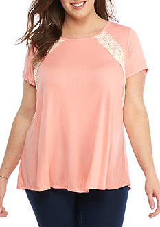 Jolt Plus Size Lace Up Back Tee