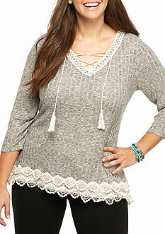Jolt Plus Size Laceup Crochet Thermal Top