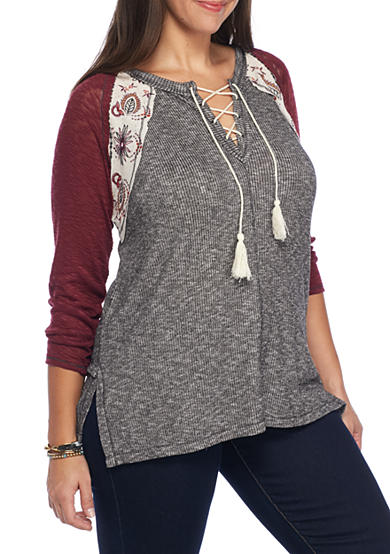 Jolt Plus Size Rib Lace Up Embroidered Thermal Shirt
