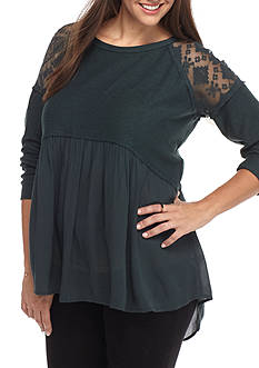 Jolt Plus Size Lace Shoulder Babydoll Sweatshirt