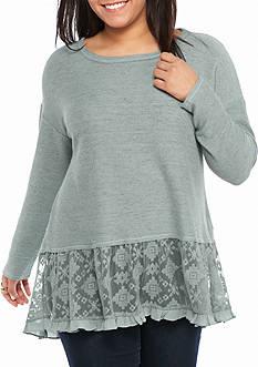 Jolt Plus Size Embroidered Hem Sweatshirt