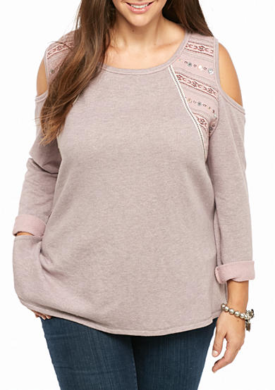 Jolt Plus Size Cold Shoulder Embroidered Sweatshirt