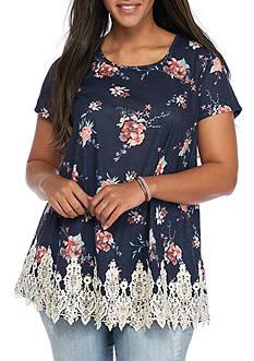 Jolt Plus Size Floral Crochet Hem Swing Tee