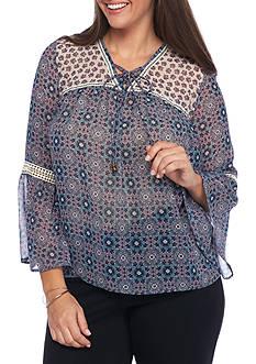 Jolt Plus Size Mix Print Lace Up Top