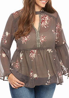 Jolt Plus Size Floral Cutout Woven Top